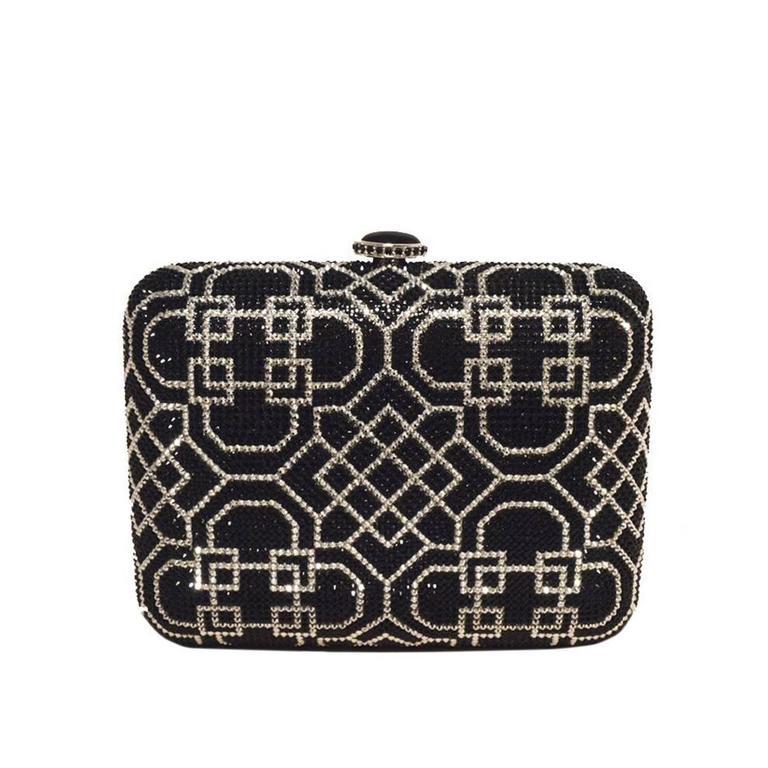 Judith Leiber NWT Black & Silver Swarovski Crystal Art Deco Minaudiere