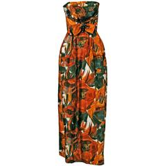 1960's Helena Barbieri Beaded Marigold-Roses Floral Print Silk Strapless Gown