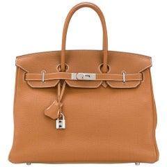 Hermes Birkin Gold 35cm Togo Leather Bag