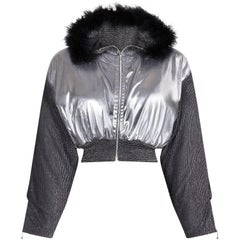 Vintage 1980s Silver Hooded Bomber Style Jacket With Black Feather Trim