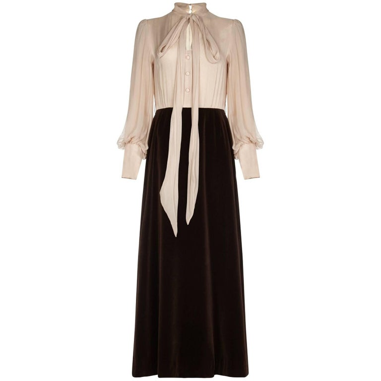 Salvador 1970s Chocolate Brown Velvet Cream Silk Dress and Waistcoat Ensemble