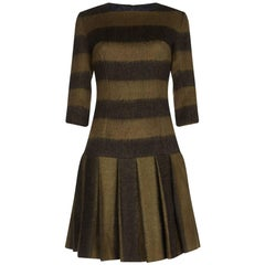 Marguerite 1960s French Couture Bold Striped Olive Green Wool Dress