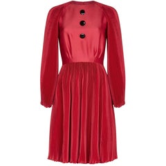 Vintage 1960s Couture Red Silk Cotton Occasion Dress With Heavy Pleated Detail