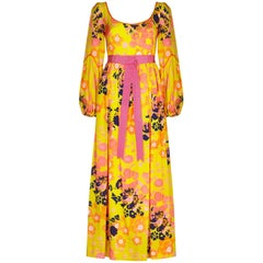 Frank Usher 1960s Psychedelic Yellow Silk Floral Printed Dress With Pink Ribbon