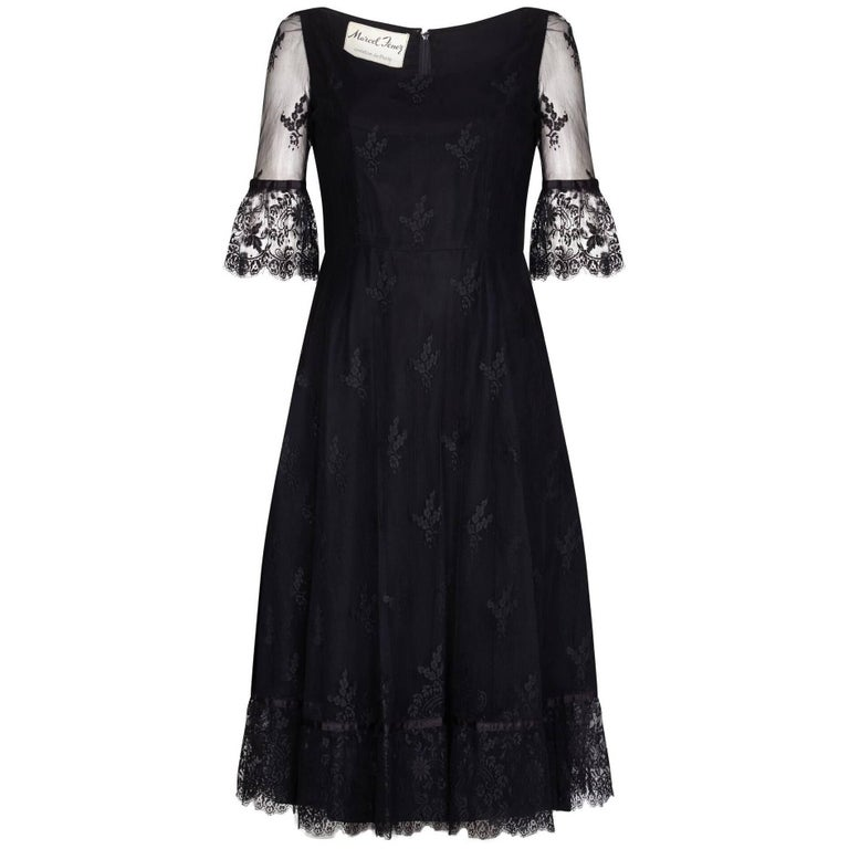 Marcel Fenez 1960s Black Cocktail Dress With Lace Cuffs
