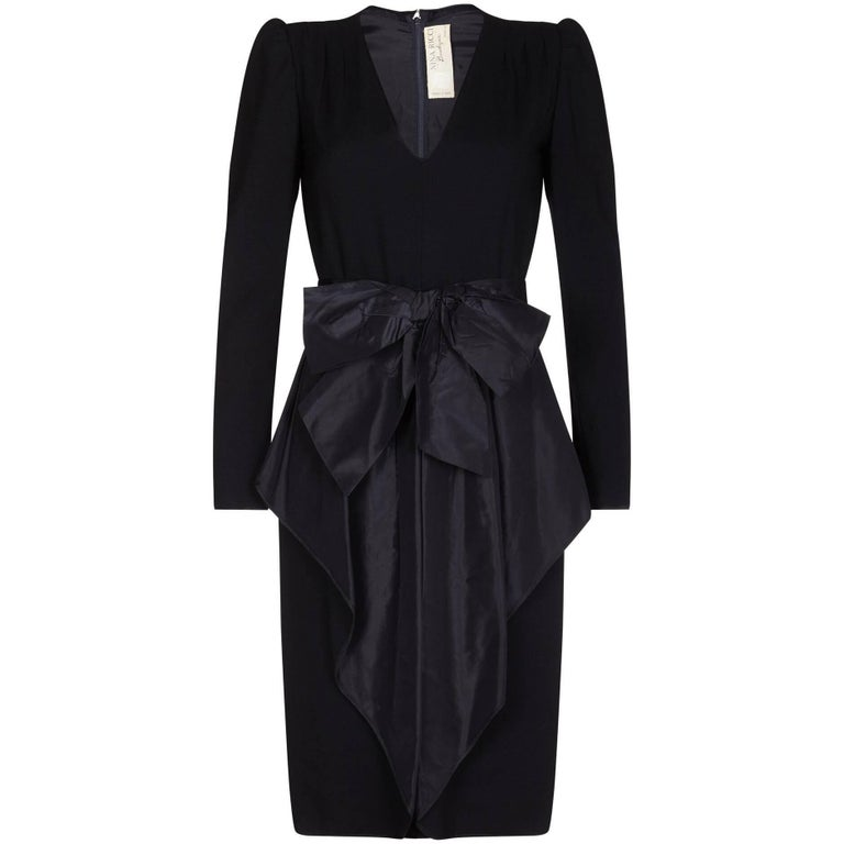 Nina Ricci 1980s Black Wool and Silk Cocktail Dress with Front Bow Detail