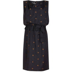 Kitty Copeland 1950s Black Taffeta Silk Dress With Polkadot Detail