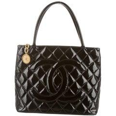 Chanel Black Patent Gold Charm Top Handle Travel Carryall Shoulder Tote Bag