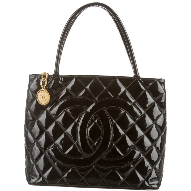 Chanel Black Patent Gold Charm Top Handle Travel Carryall Shoulder Tote Bag For Sale