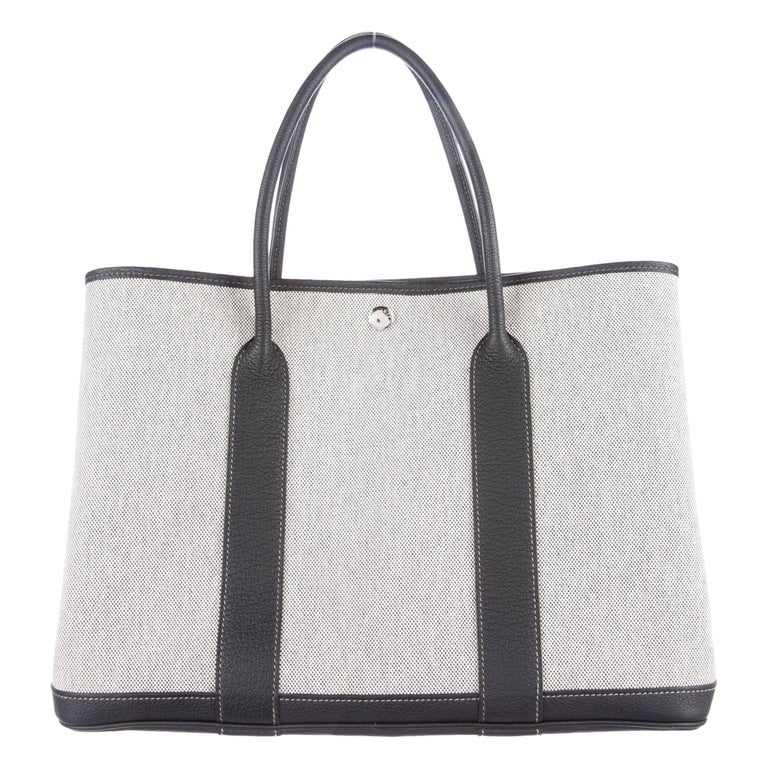 Hermes Canvas Leather Blue Gray Men's Carryall Travel Tote Bag