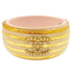 Chanel Resin Striped Metallic Gold Pearl Statement Evening Cuff Bracelet in Box