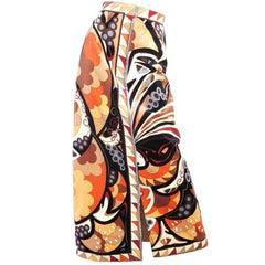 1970s Pucci Velvet Geometric Print Skirt