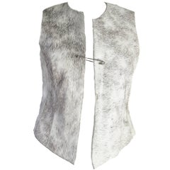 Dries Van Noten Leather Vest with Pin Closure