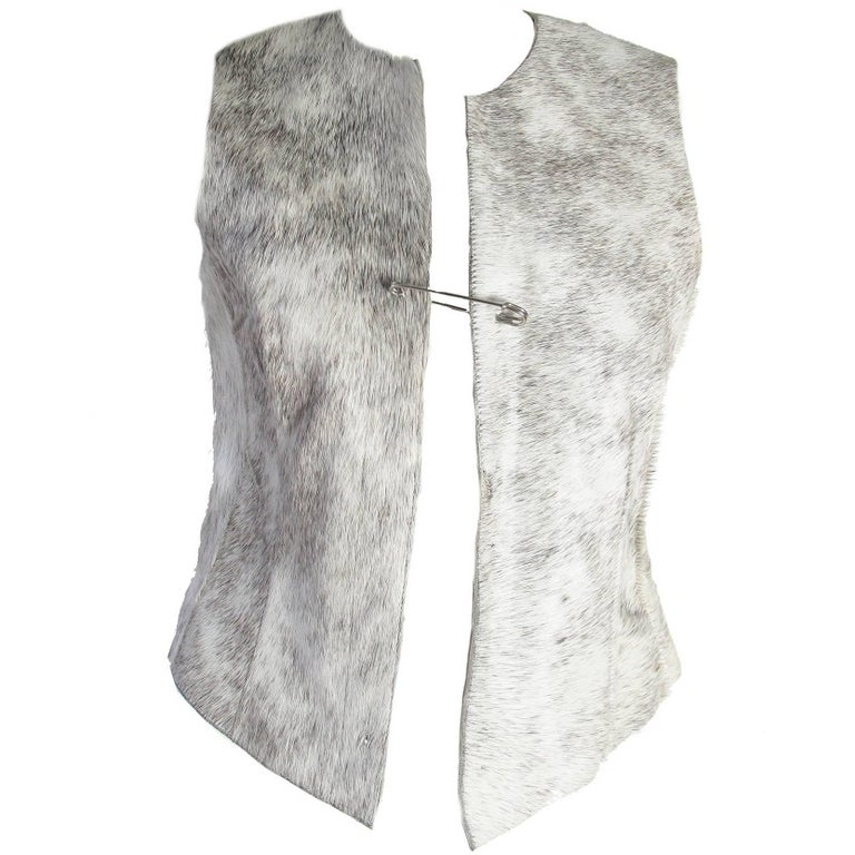 Dries Van Noten Leather Vest with Pin Closure For Sale