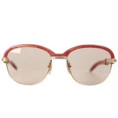 CARTIER Paris MALMAISON Palisander ROSEWOOD Rare Gold Sunglasses 56-19 135B NOS