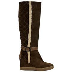 Brown Aquatalia Suede Wedge Tall Boots