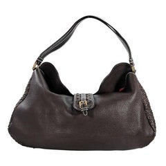 Brown Chopard Perforated Leather Shoulder Bag