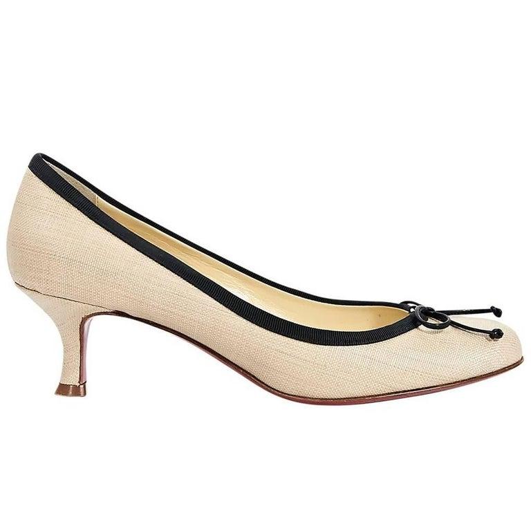 separation shoes 4aad6 4ca19 Tan & Black Christian Louboutin Kitten Heel Pumps