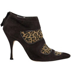 Brown Manolo Blahnik Suede Ankle Boots