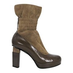 Taupe Fendi Suede & Leather Ankle Cuff Boots