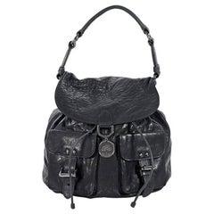 Black Mulberry Leather Shoulder Bag