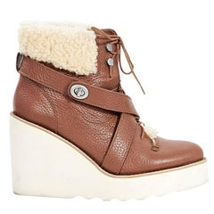 Brown Coach Shearling & Leather Wedge Ankle Boots