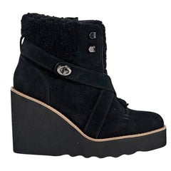 Black Coach Shearling & Suede Ankle Boots