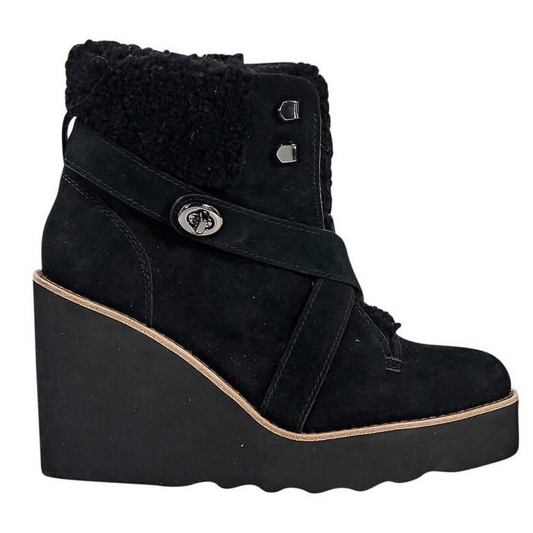 black coach shearling and suede ankle boots for sale at