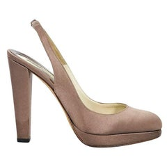 Taupe Brian Atwood Satin Slingback Pumps