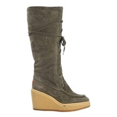Olive Green See By Chloe Suede Wedge Boots