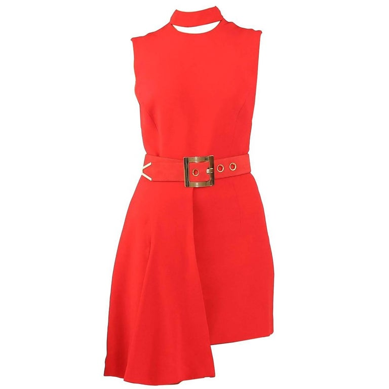 New VERSACE RED SILK DRESS with BELT and CLUTCH BAG For Sale
