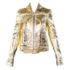 VERSACE VERSUS GOLD METALLIC LEATHER BIKER JACKET with EMBROIDERY