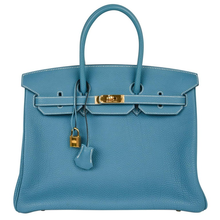 667bf205b4ed Hermes Birkin 35 Bag Iconic Blue Jean Togo Gold Hardware Rare For Sale