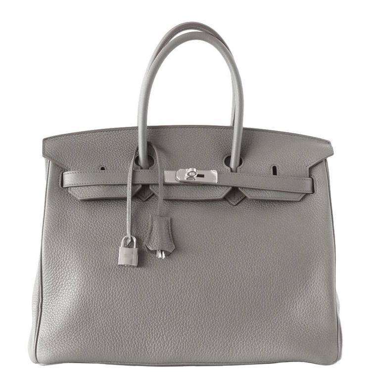 Hermes Birkin 35 Bag Etain Gray Clemence Palladium Hardware SO Chic For Sale 51bc4bb28ec4b