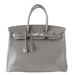 Hermes Birkin 35 Bag Etain Gray Clemence Palladium Hardware SO Chic