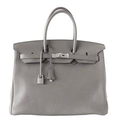 Hermes Birkin 35 Bag Etain Gray Clemence Palladium Hardware SO Chic