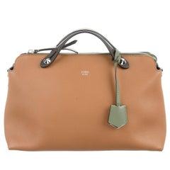 Fendi New Cognac Nude Leather Top Handle Satchel Boston Shoulder Bag