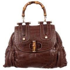 Gucci New Chocolate Crocodile Exotic Skin Kelly Bamboo Top Handle Satchel Bag