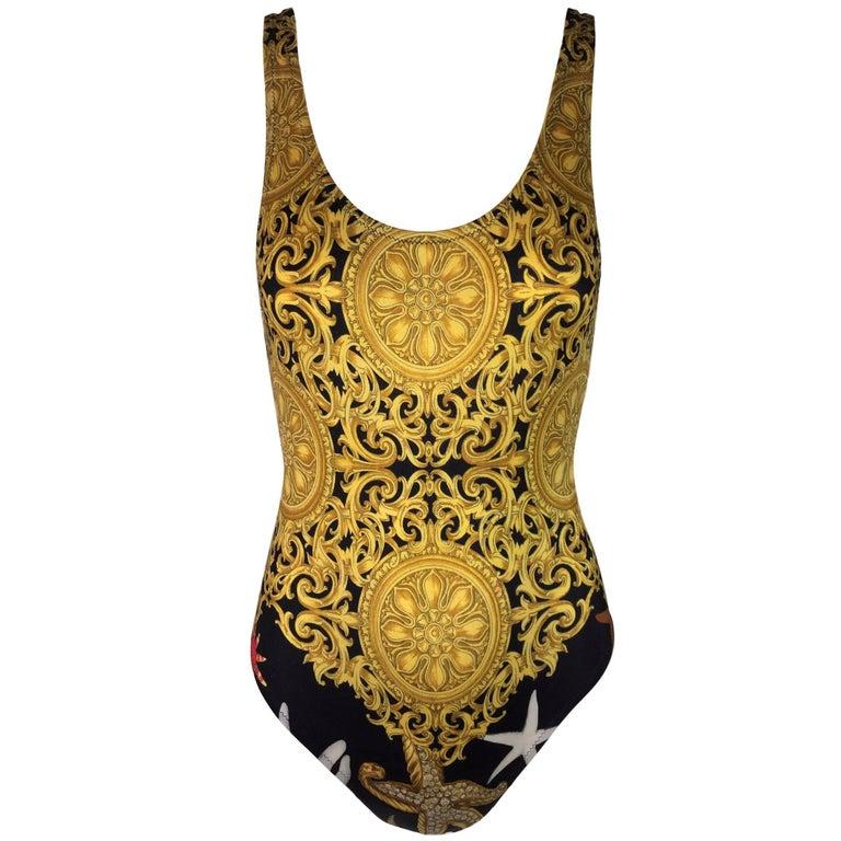 Gianni Versace S/S 1992 Baroque Starfish Bodysuit Swimsuit 40