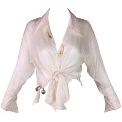 S/S 1994 Gianni Versace Sheer Ivory Silk Tie Front Safety Pin Blouse Top