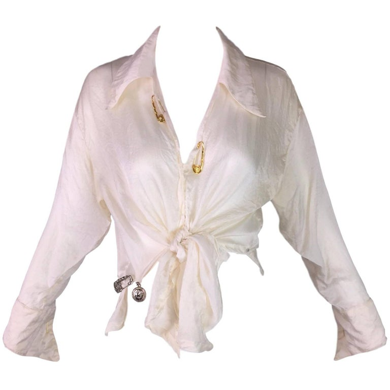 S/S 1994 Gianni Versace Sheer Ivory Silk Tie Front Safety Pin Blouse Top 1