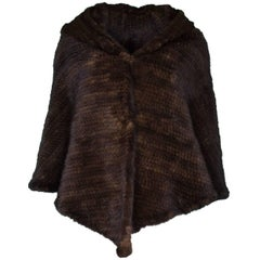 Brown Knitted Fur Shawl
