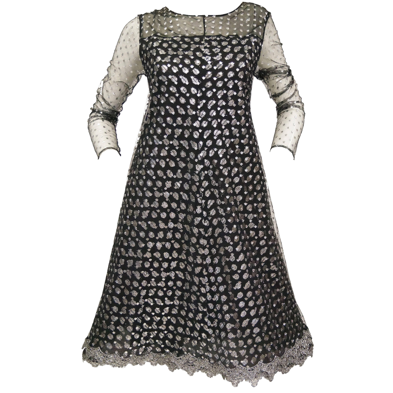 1990s Geoffrey Beene Black and Silver Metallic Polka Dot Dress 6-8