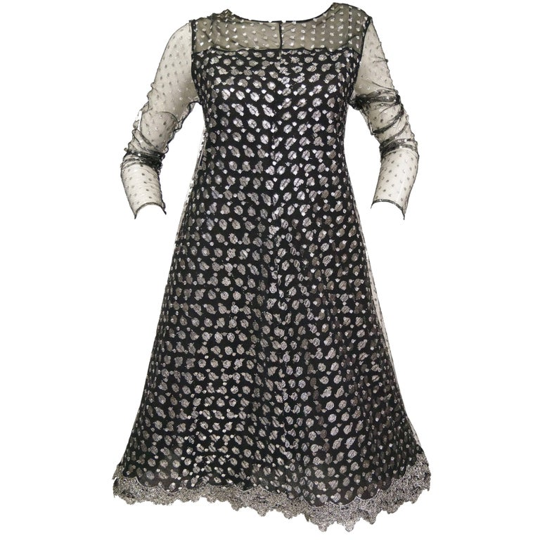 1990s Geoffrey Beene Black and Silver Metallic Polka Dot Dress 6-8