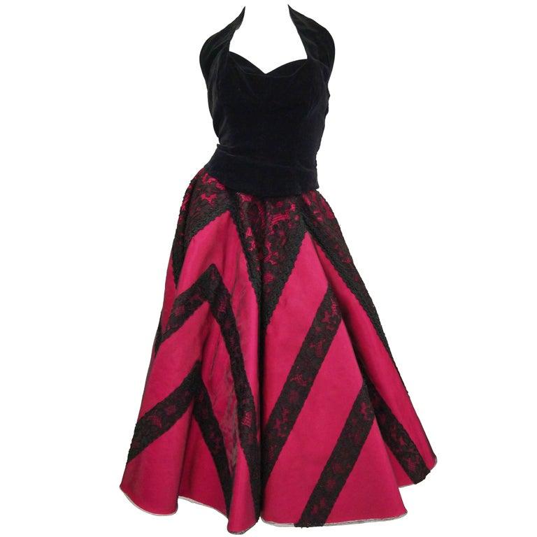 1950s Carol Antell Fuchsia Silk and Black Lace w/ Velvet Skirt and Halter