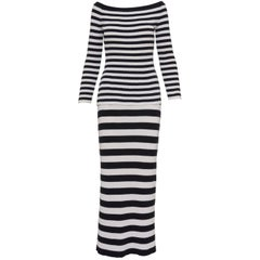 Salvatore Ferragamo Striped Black and White Jersey Sweater and Skirt