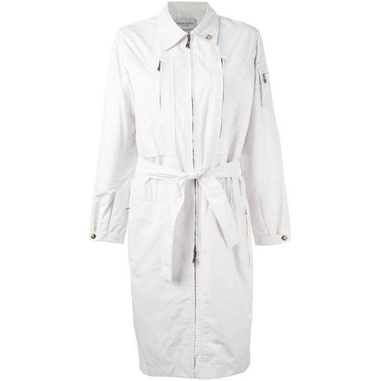 White Saint Laurent Trench Coat