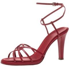 Valentino Garavani Red Leather High Heeled Sandals