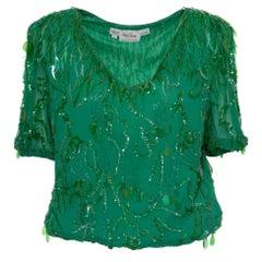 Oleg Cassini Embroidery Green Silk Balloon Blouse, 1980s