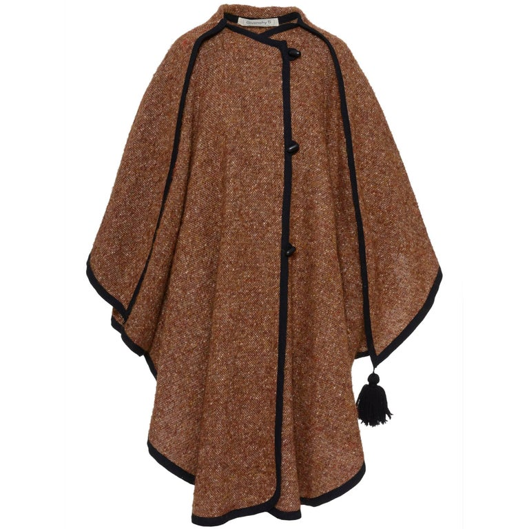 Givenchy Brown Weave Wool Cape, 1980s